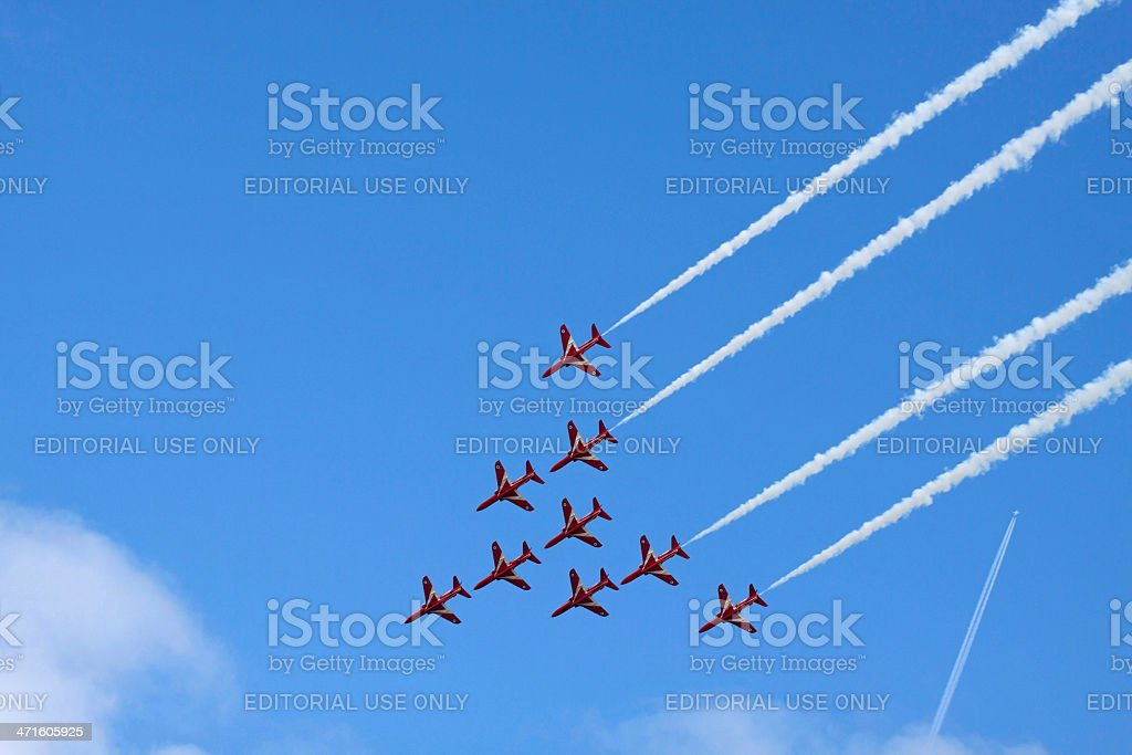 Nine Red Suisse stunt planes royalty-free stock photo