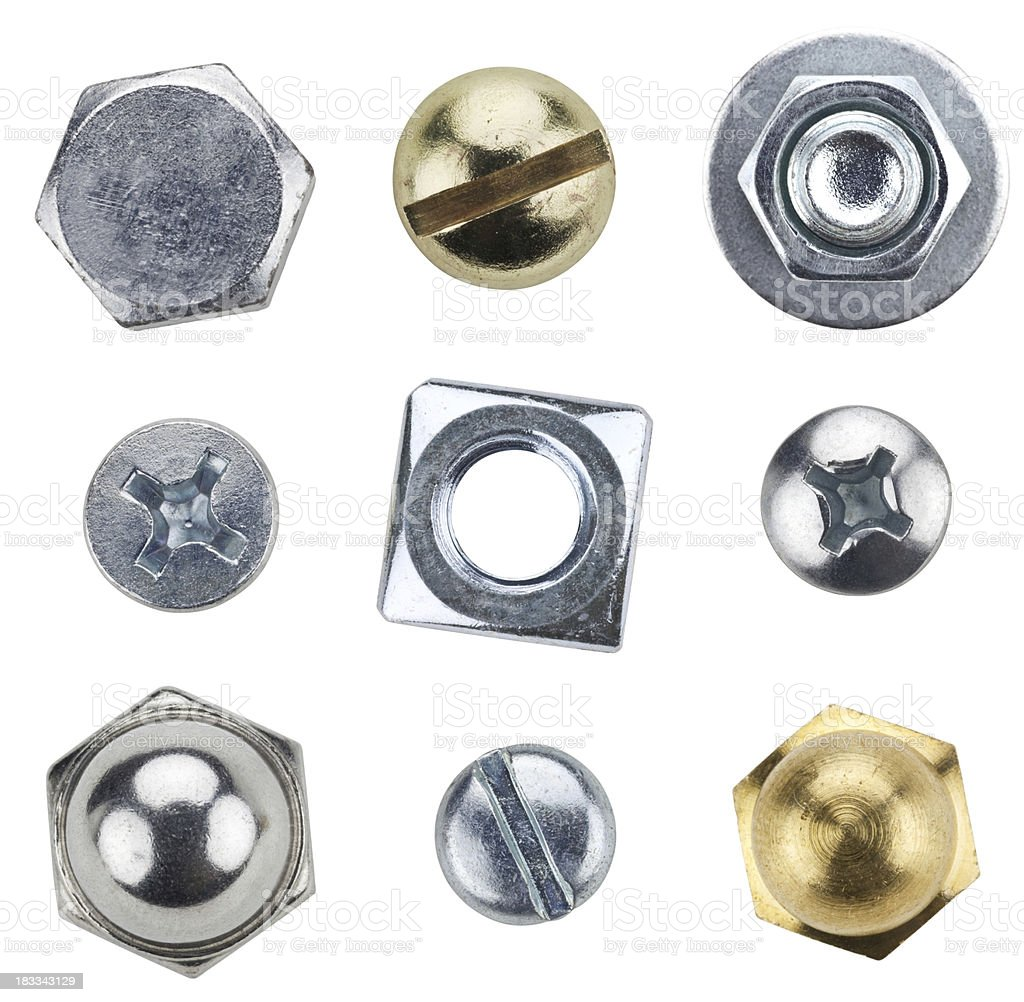 Nine typed of screws and bolts stock photo