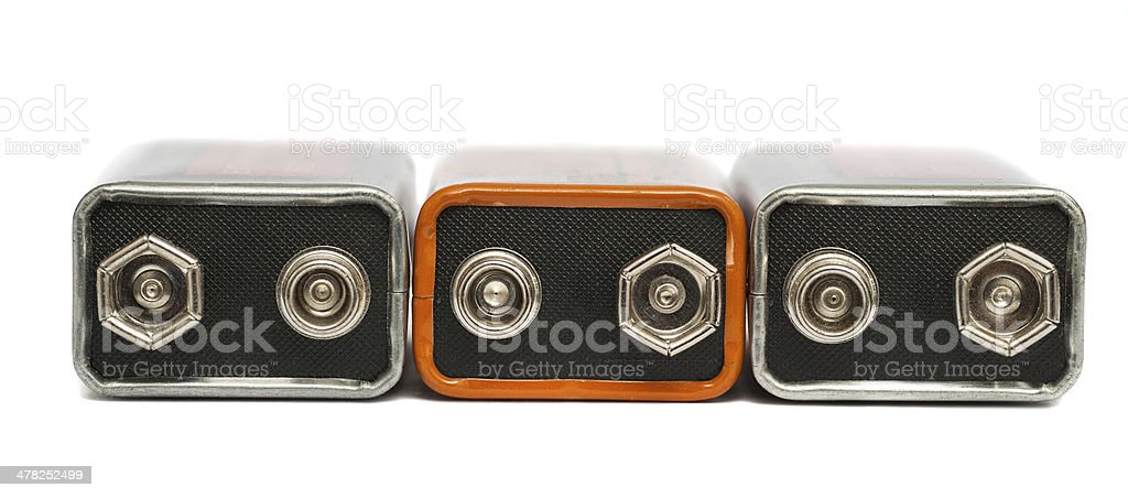 nine volt batteries stock photo