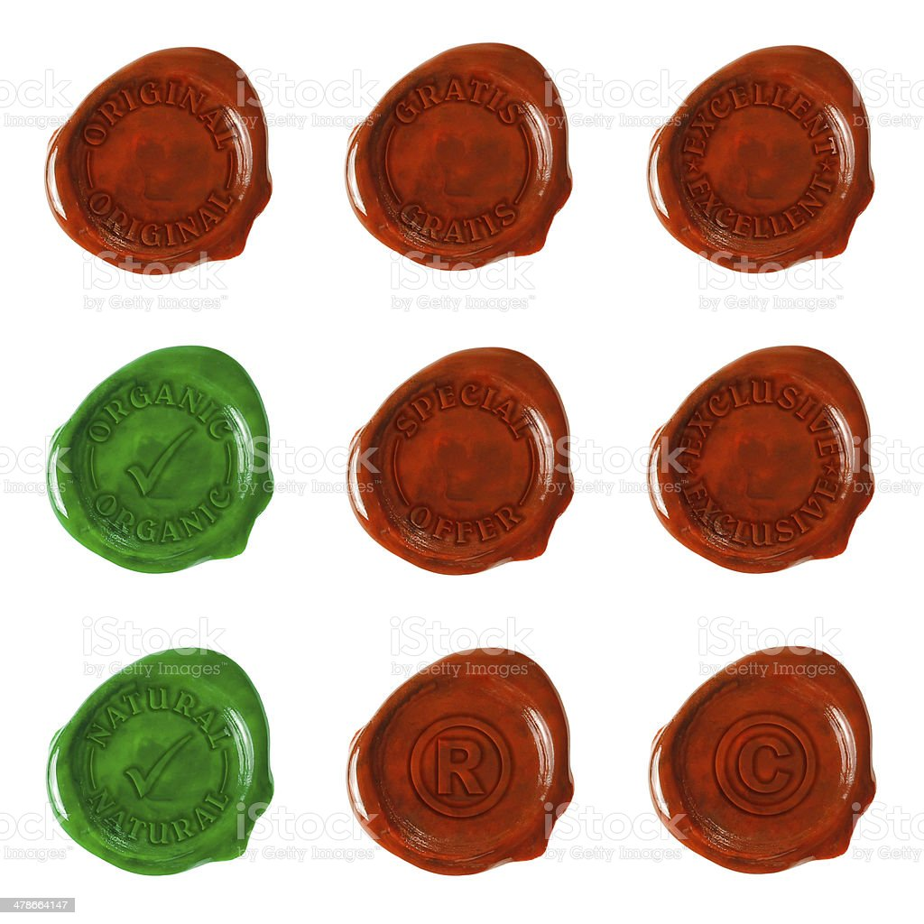 Nine wax seals with text stock photo