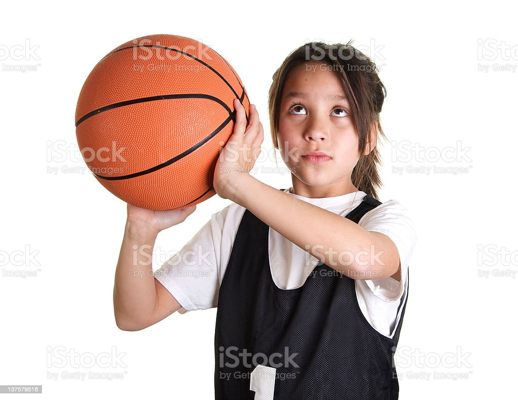 Nine Year Old Girl Basketball Player Ready to Shoot stock photo