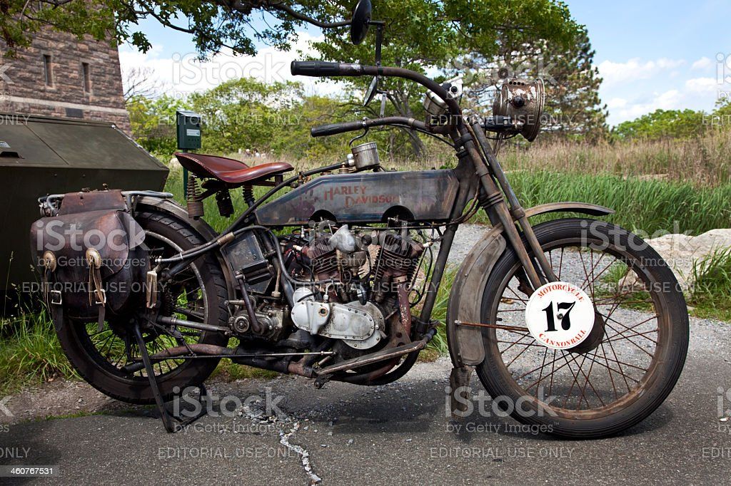 Nineteen fifteen Vintage Harley Davidson with all original parts stock photo