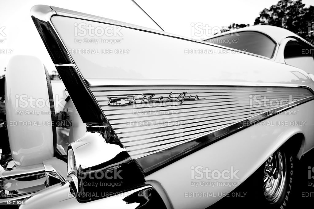 Nineteen fifty seven Chevy Bel Air, shot of rear, B&W stock photo