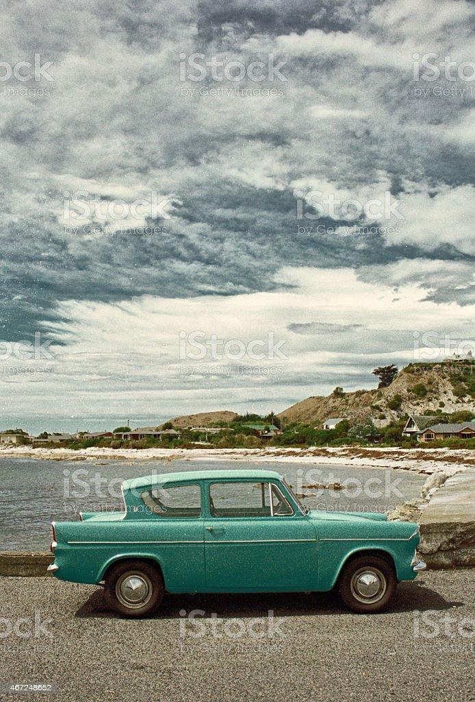 Nineteen Sixties Ford Anglia In New Zealand stock photo