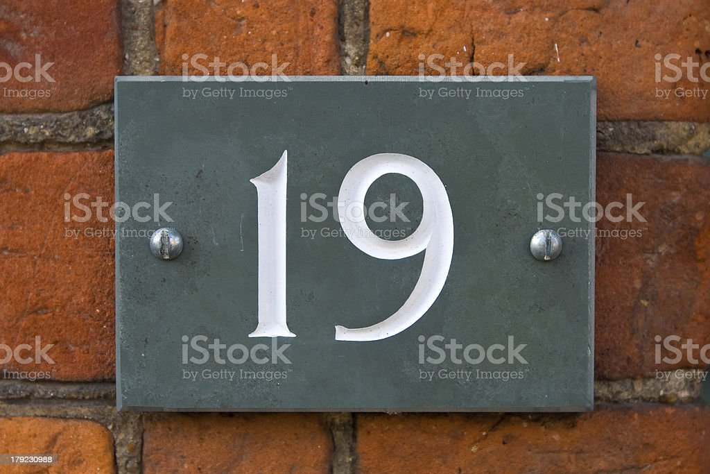 Nineteen street number royalty-free stock photo