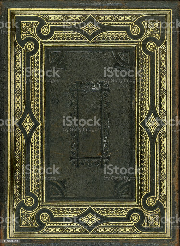 Nineteenth Century bible back cover stock photo