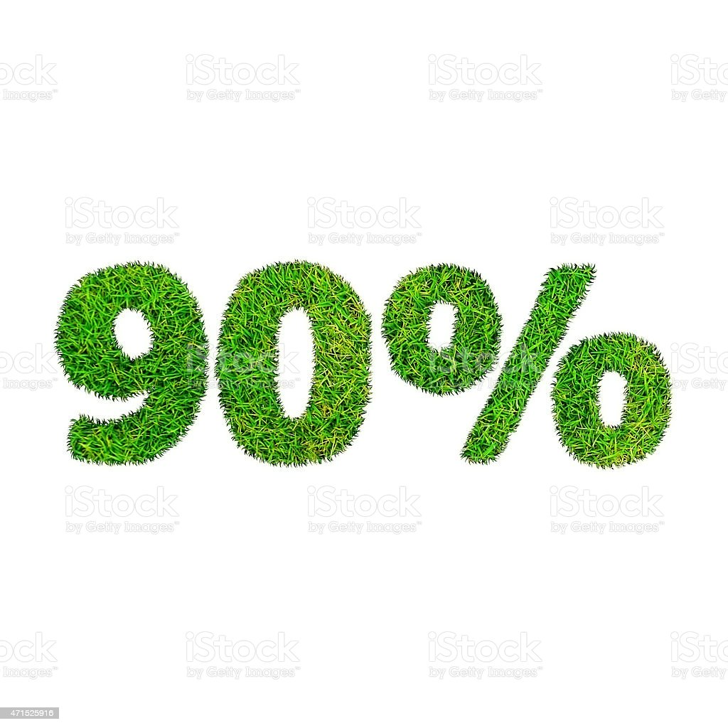 Ninety percent discount icon. Green grass numerals isolated on white stock photo