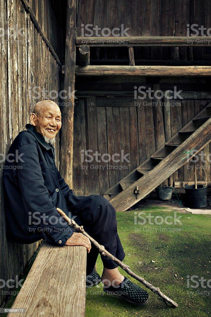 Ninety years old Chinese man stock photo