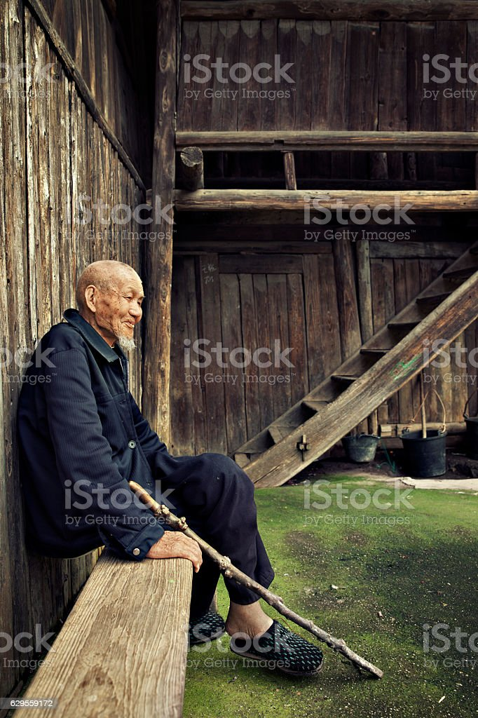 Ninety years old Chinese man stock photo