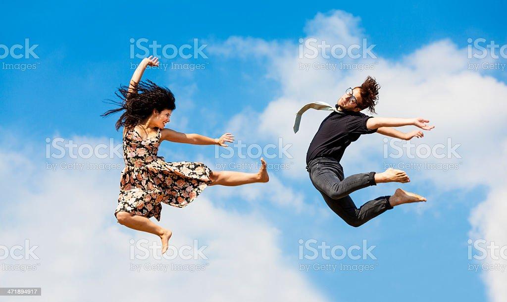Ninja jumping couple stock photo