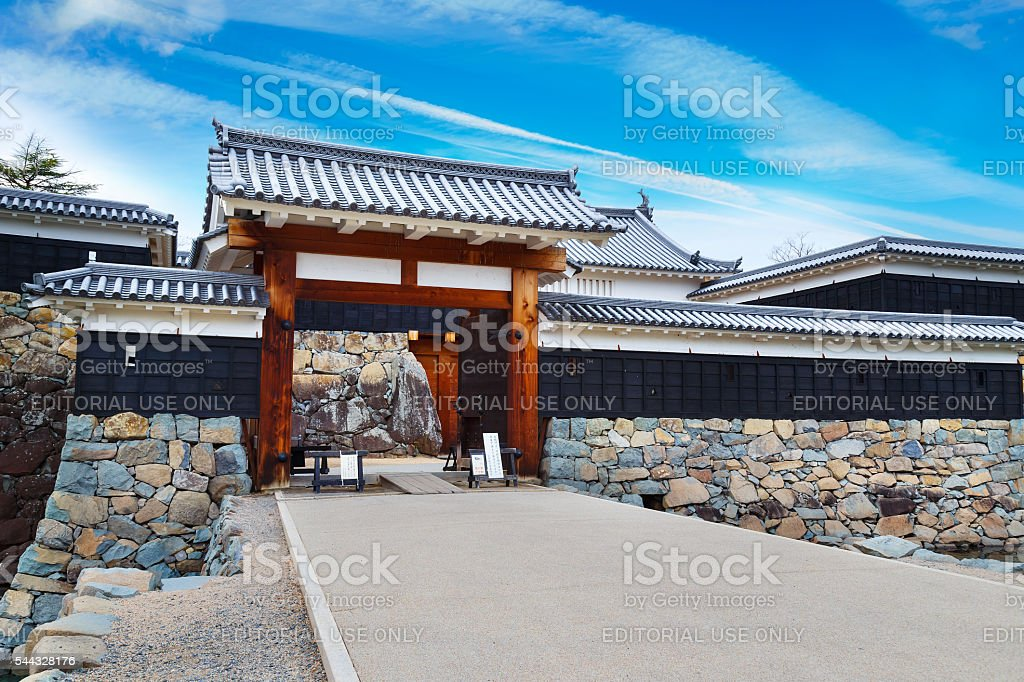 Ninomon Gate at Matsumoto Castle in Japan stock photo