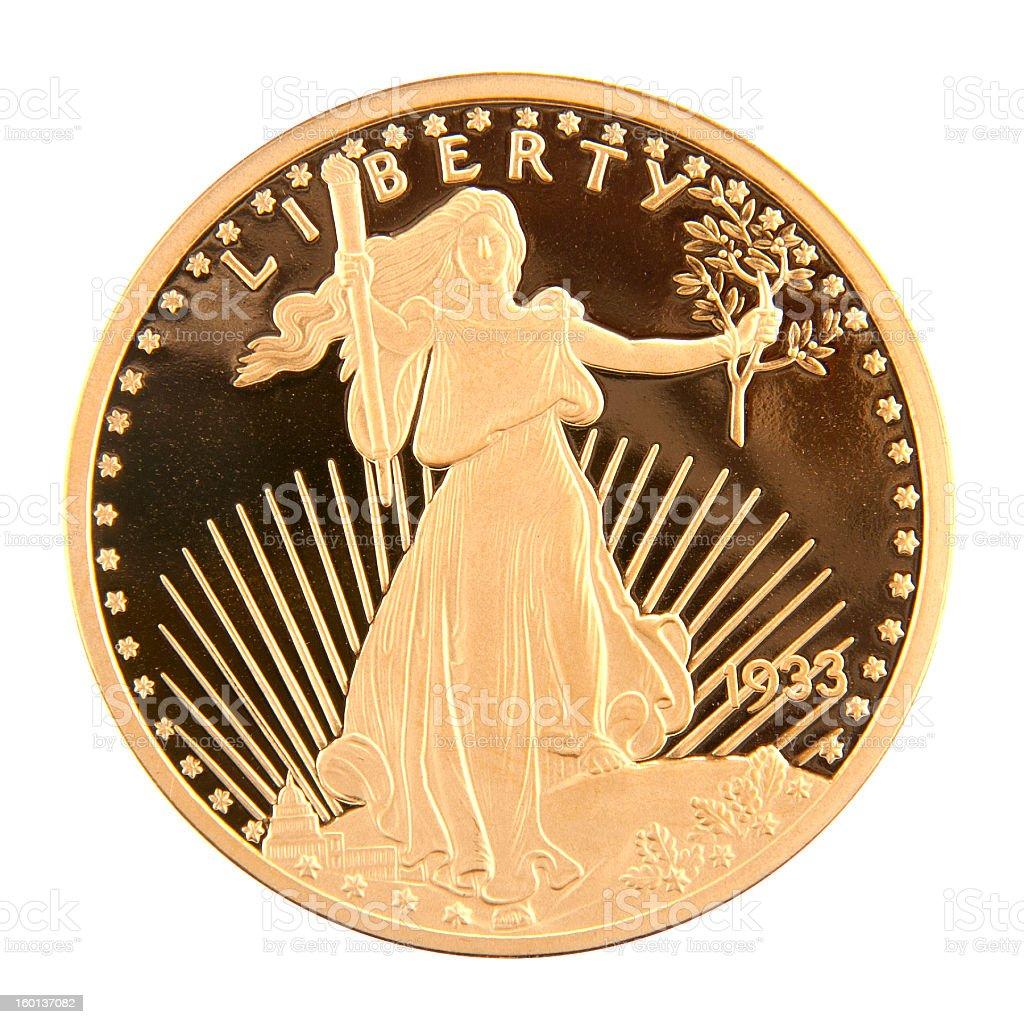 Ninteen Thirty-Three Twenty Dollar Double Eagle stock photo