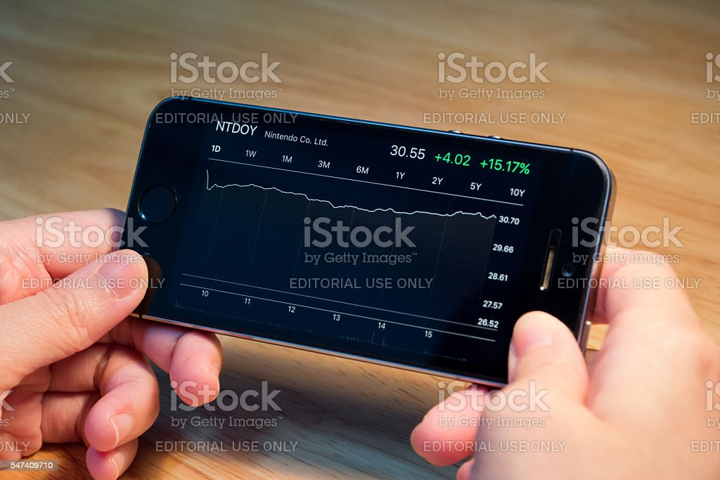 Nintendo Co. Ltd. stock chart on iPhone5s stock photo