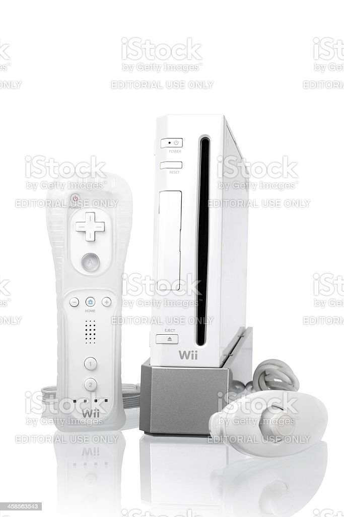 Nintendo Wii game console with remote controller and nunchuk stock photo