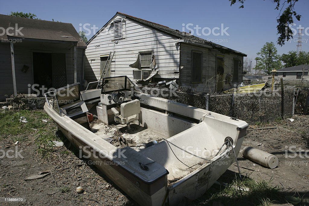 Ninth Ward home with boat in front yard stock photo