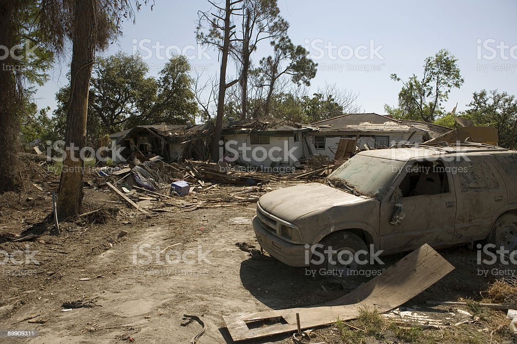 Ninth Ward Home with SUV royalty-free stock photo