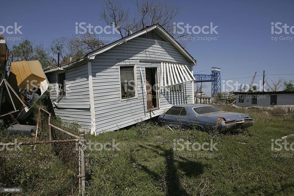 Ninth Ward House lands on Car stock photo