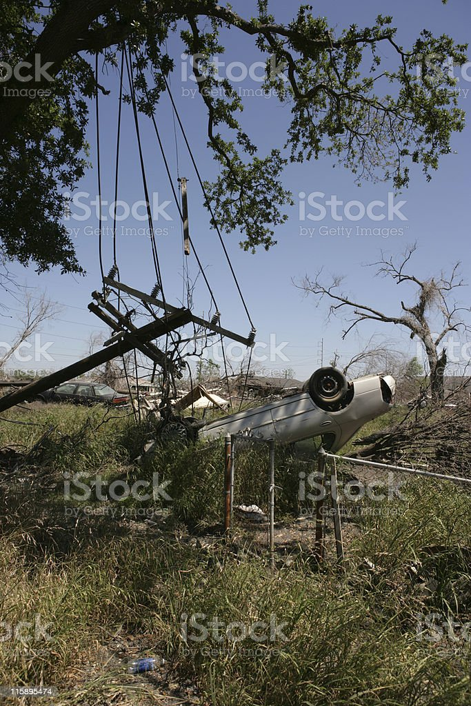 Ninth Ward lot with overturned automobile stock photo