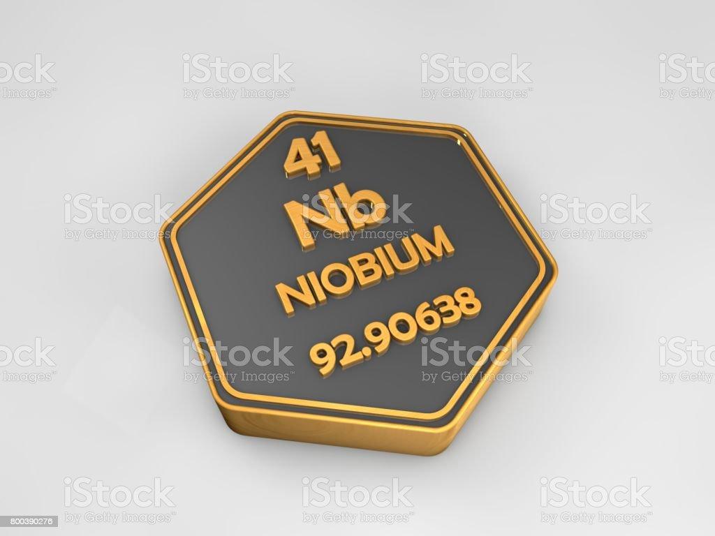 Niobium - Nb - chemical element periodic table hexagonal shape 3d render stock photo