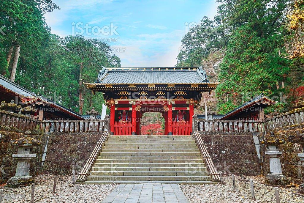 Nio-mon Gate at Taiyuinbyo Shrine in Nikko, Japan stock photo