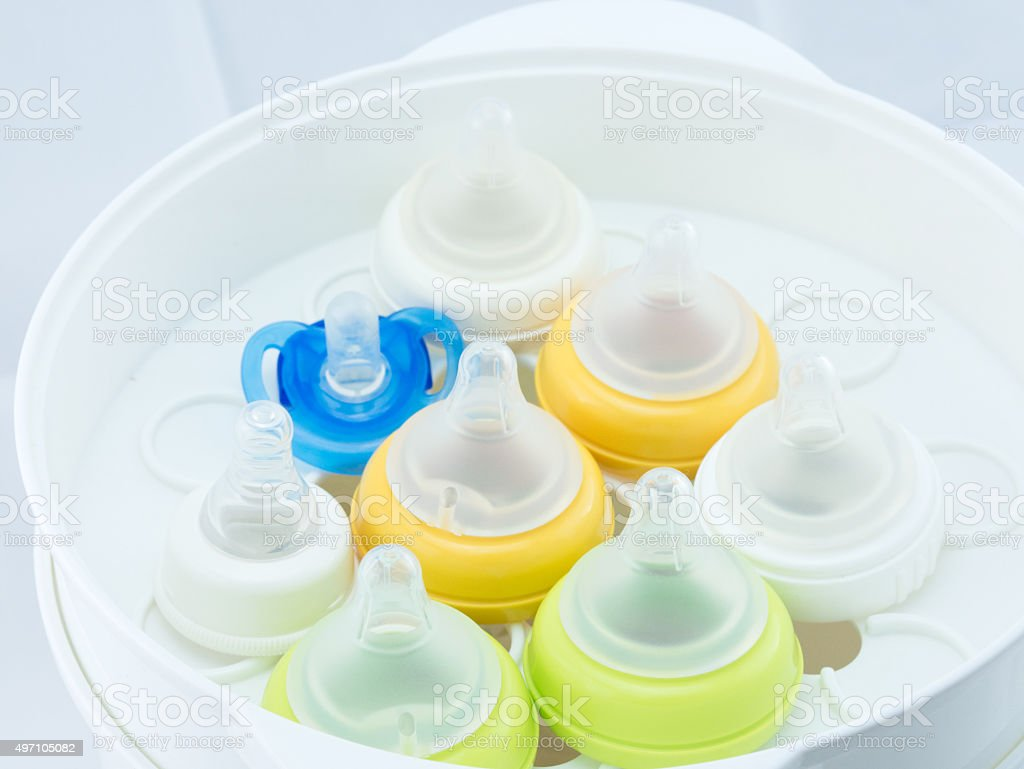 Nipples in steam sterilizer. royalty-free stock photo
