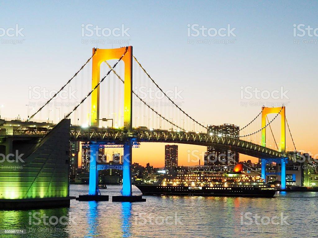 Nippon-Maru and Rainbow Bridge At Sunset, Tokyo, Japan stock photo