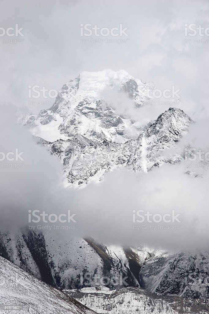 Nirekha mountain cloudscape, Himalayas, Nepal royalty-free stock photo