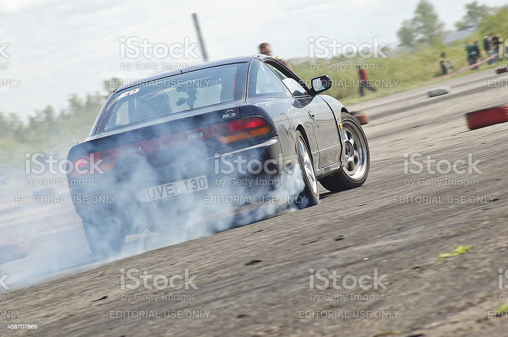 Nissan 200sx S13 drifting stock photo