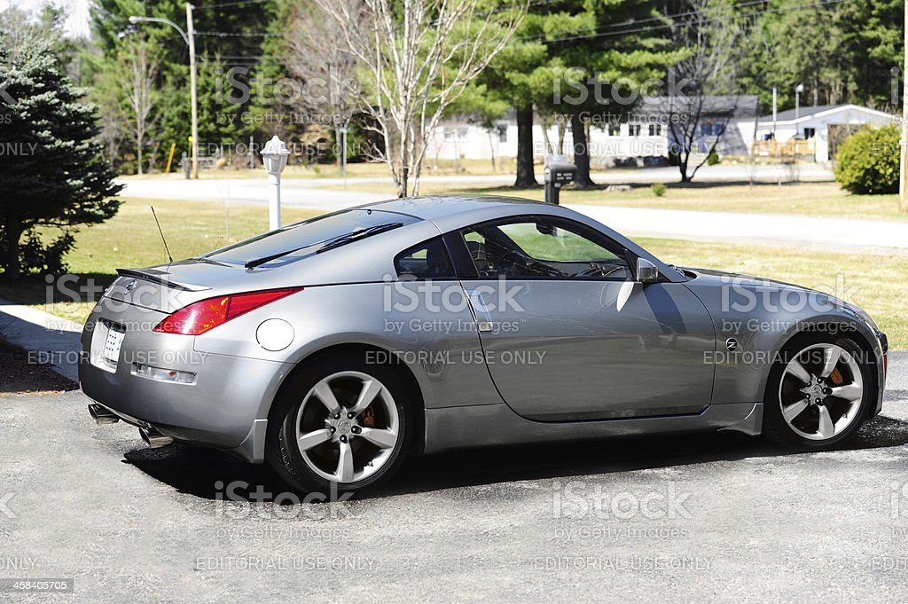 nissan 350z sport car gray profile stock photo