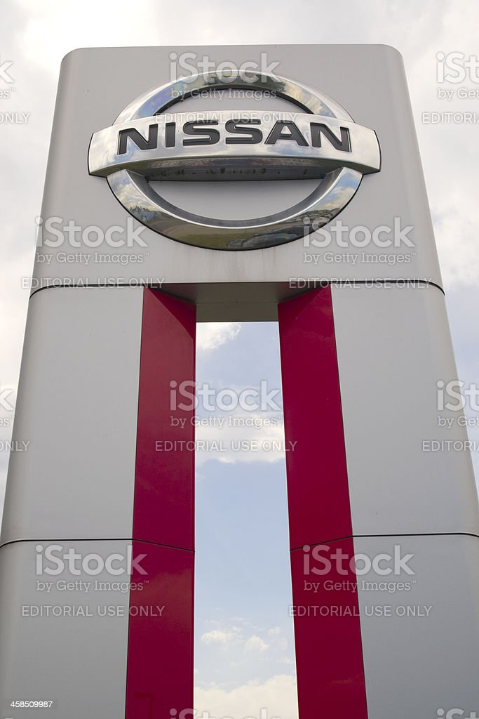 Nissan brand logo stock photo