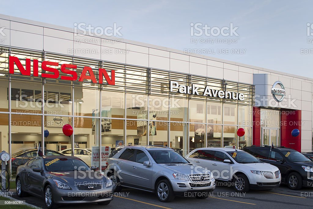 Nissan Cars Displayed At Dealership stock photo