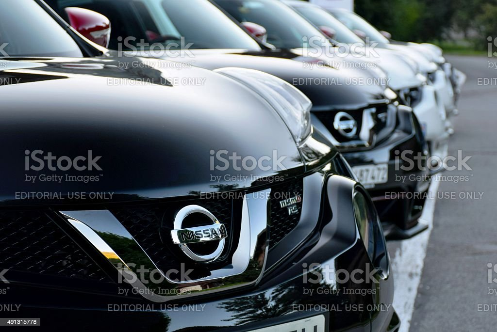 Nissan cars in a row stock photo