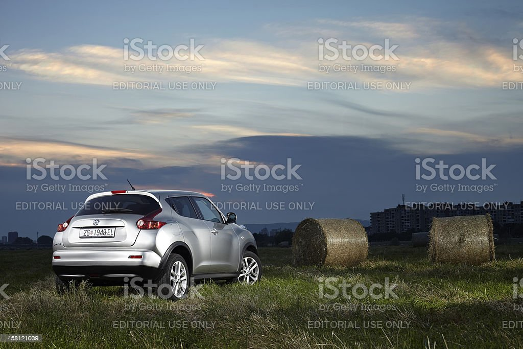 Nissan Juke with bundles of hay stock photo