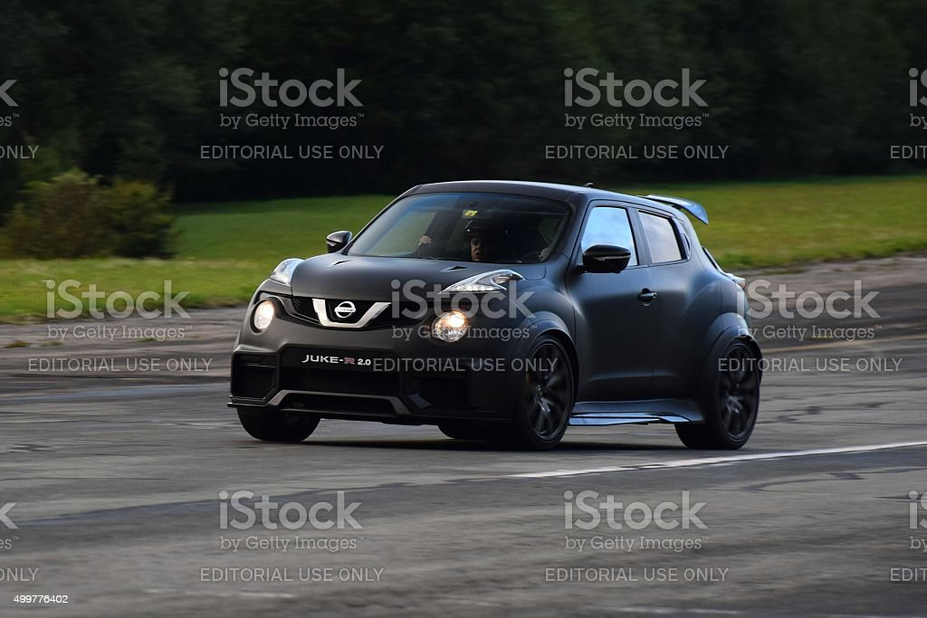 Nissan Juke-R on the racetrack stock photo