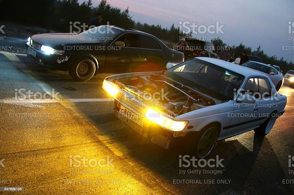 Nissan Laurel and Toyota Mark II stock photo