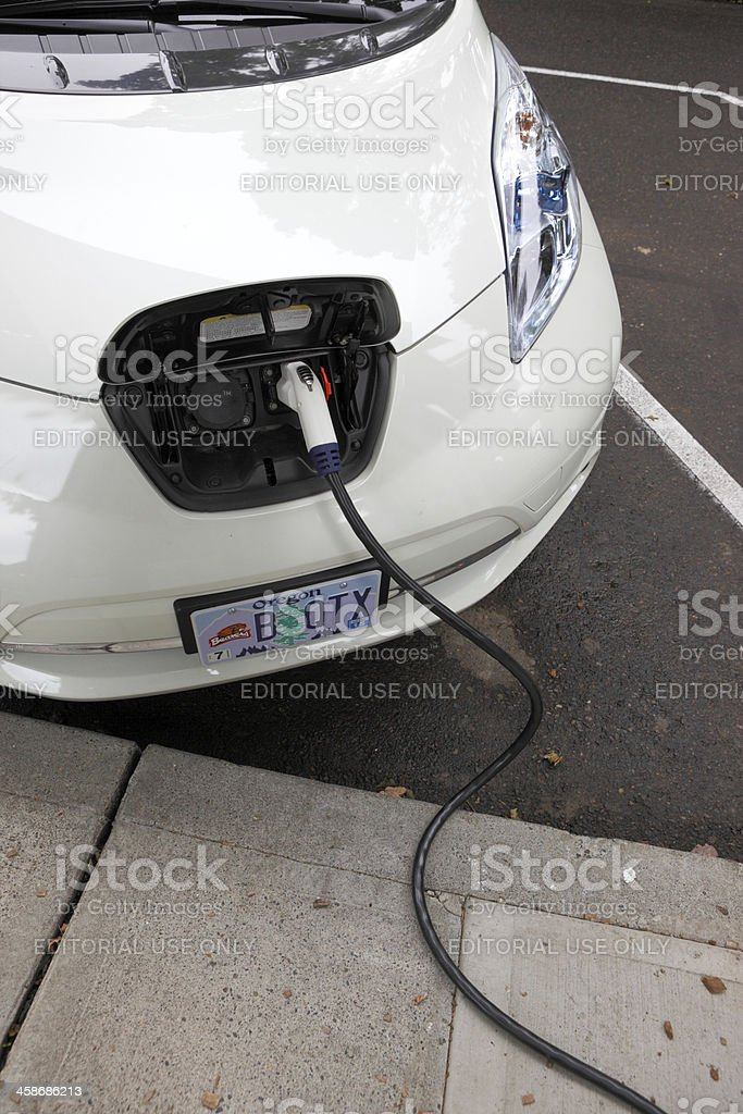 Nissan Leaf Charging. stock photo