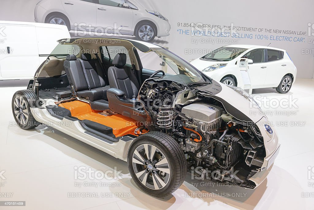Nissan Leaf cross section stock photo