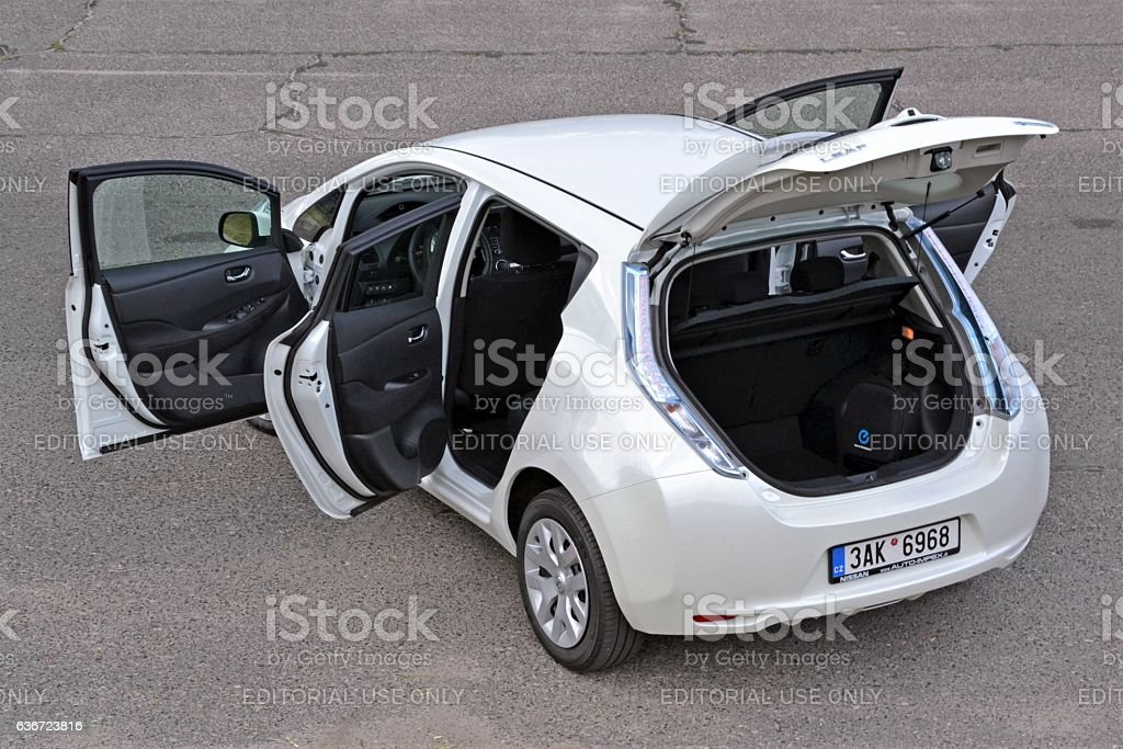 Nissan Leaf - electric car stock photo