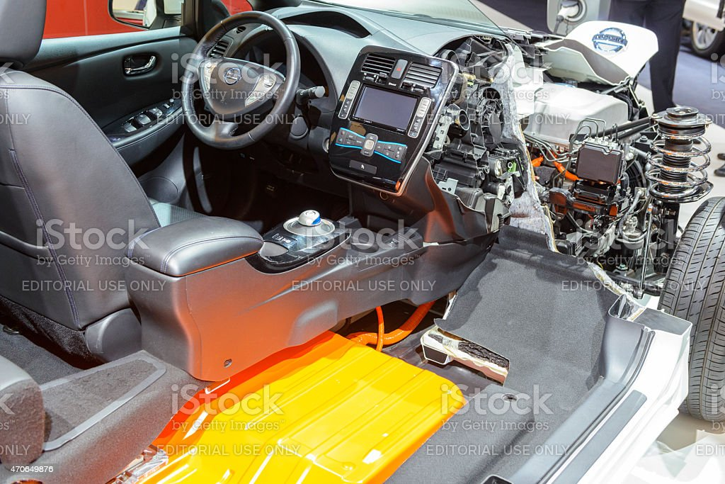 Nissan Leaf electric vehicle cross section stock photo
