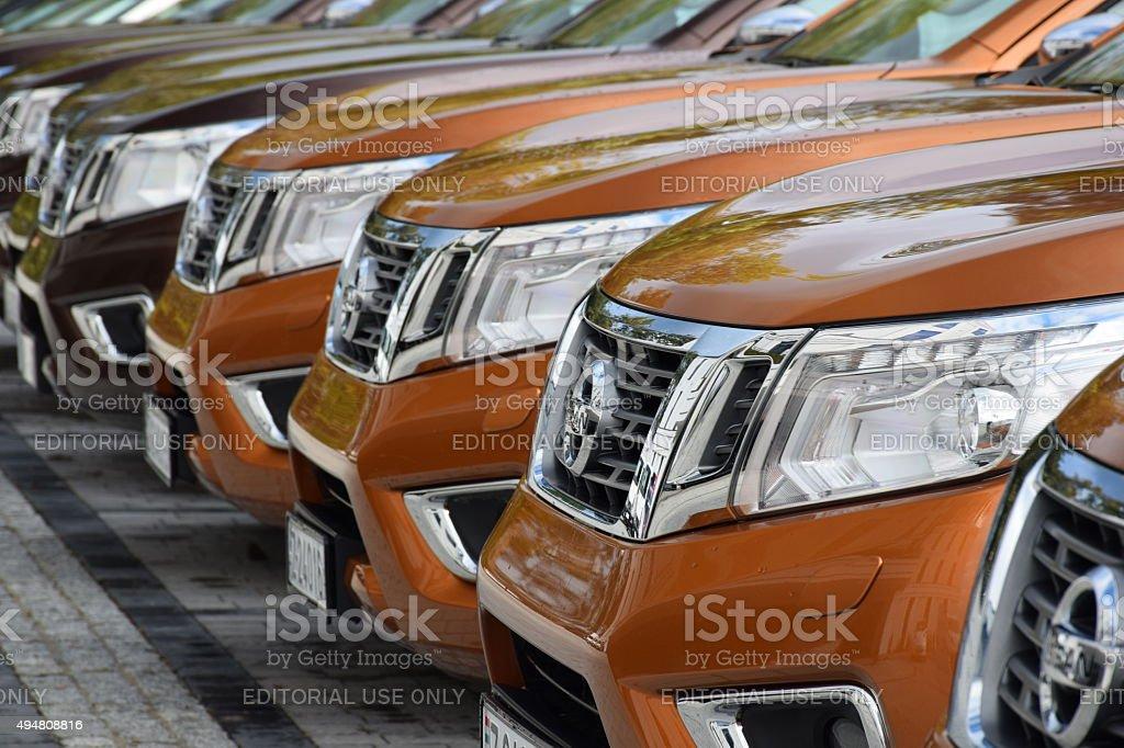 Nissan NP300 Navara in a row stock photo