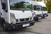 Nissan NT400 Cabstar vehicles on the parking