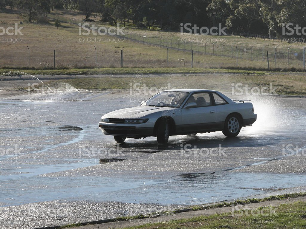 nissan on skid pan stock photo