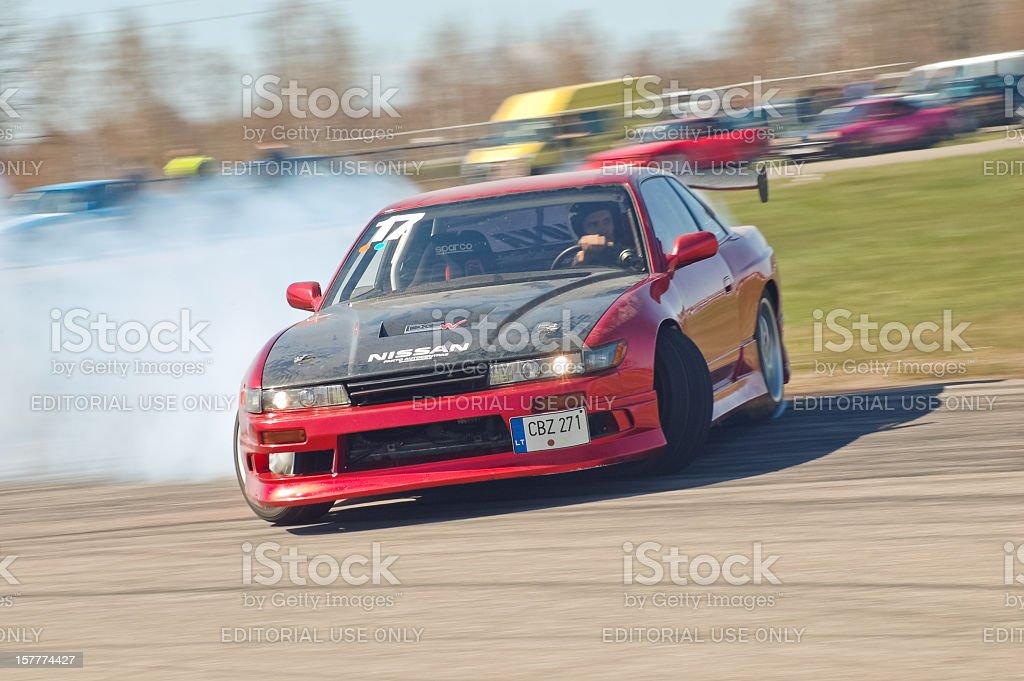 Nissan PS13 drifting hard stock photo