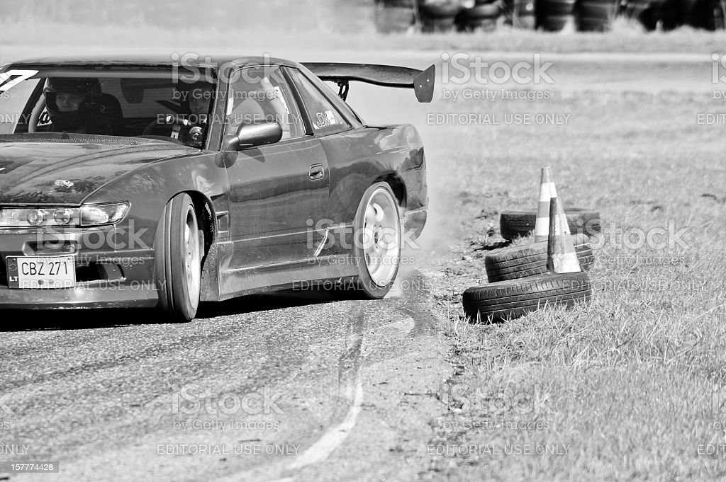 Nissan PS13 drifting near clipping point stock photo