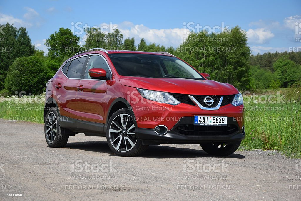 Nissan Qashqai on the unmade road stock photo