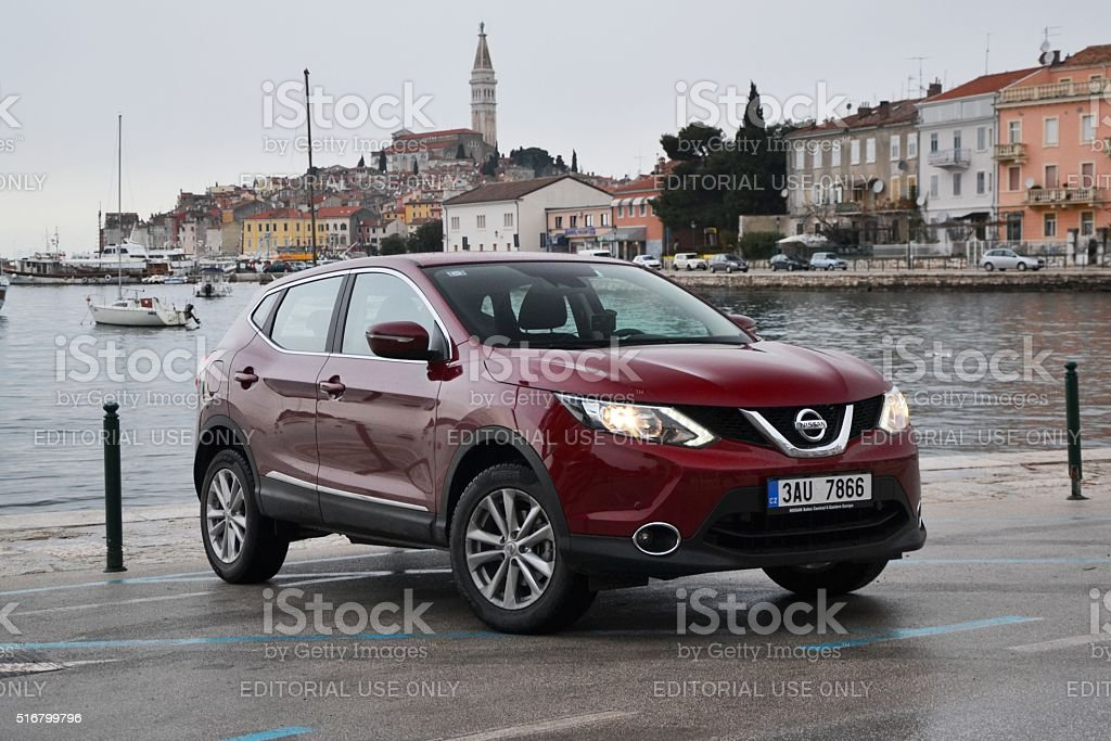 Nissan Qashqai stopped on the street stock photo