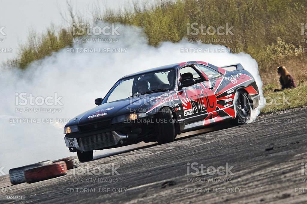 Nissan Skyline R33 drifting stock photo