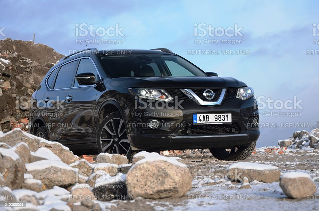 Nissan X-Trail on the unmade road stock photo