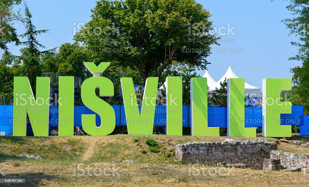 Nisville jazz festival sign in Nis fortress stock photo