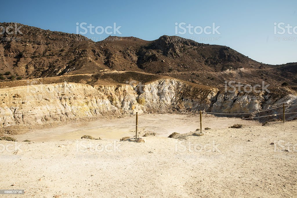 Nisyros island volcano stock photo